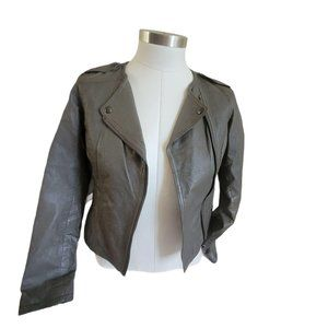 Taupe Gray Leather Moto Jacket Woman's JJ857
